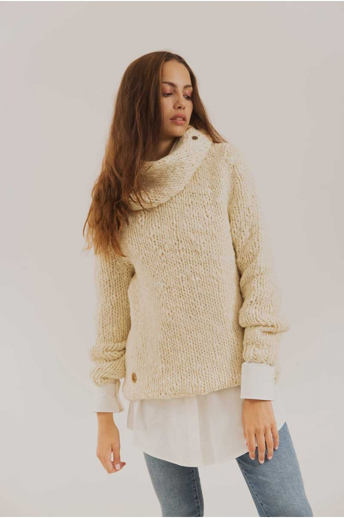 Sweater in Merino and Silk Humahuaca Off White