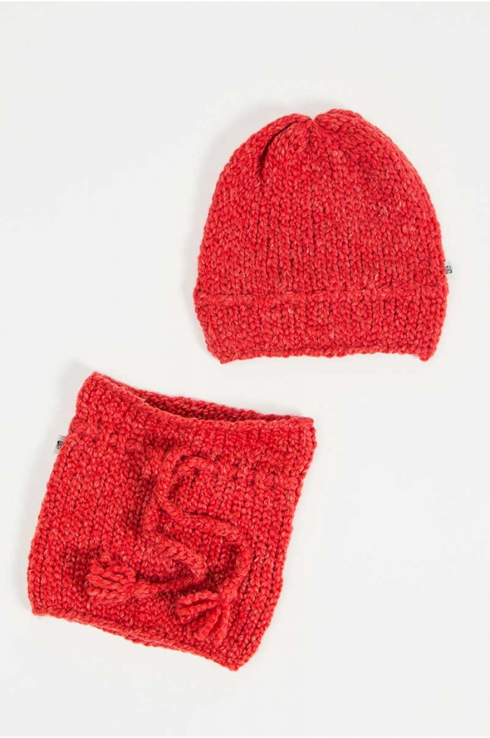Papolino Hat and Snood in Red