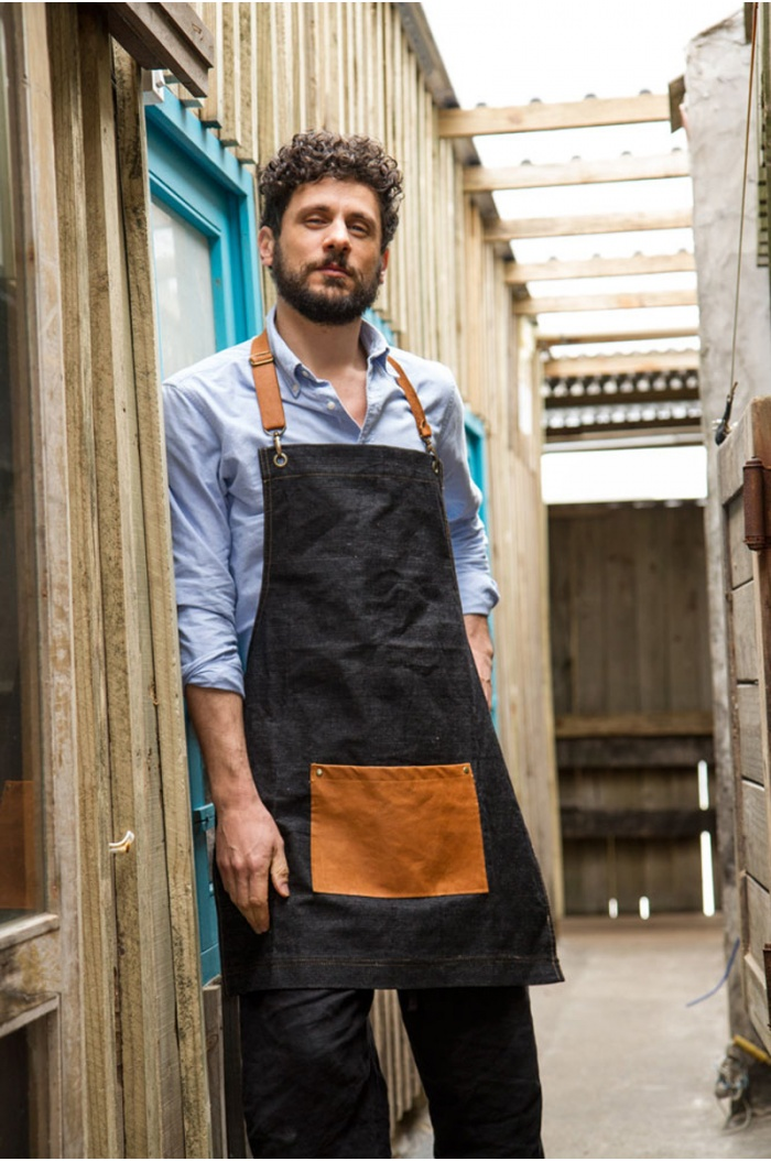 Black Denim & Leather Apron