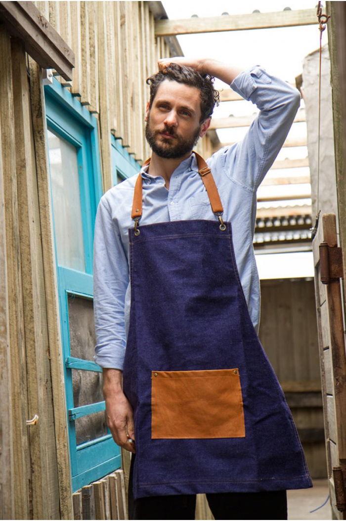 Blue Denim & Leather Apron