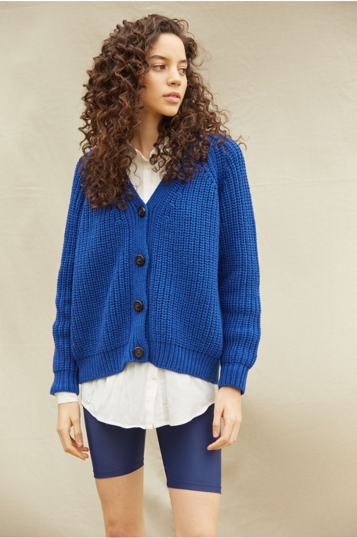 Perlado Couture Blue Cardigan