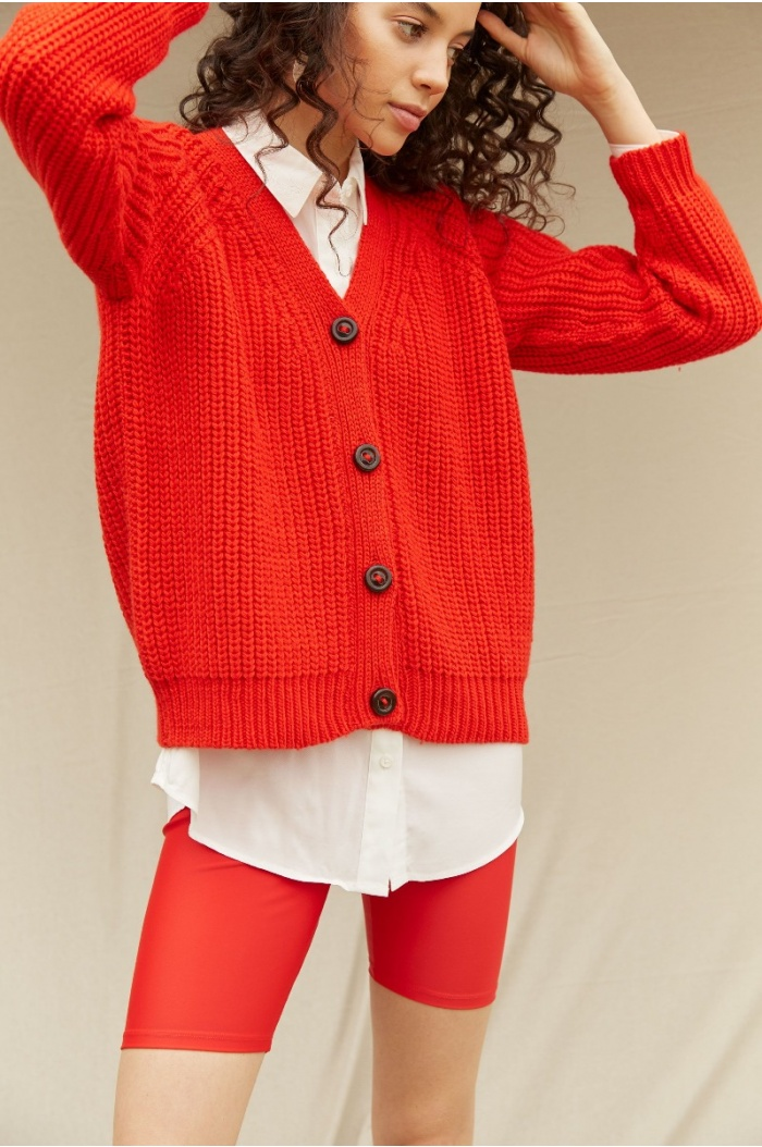 Perlado Couture Red Cardigan