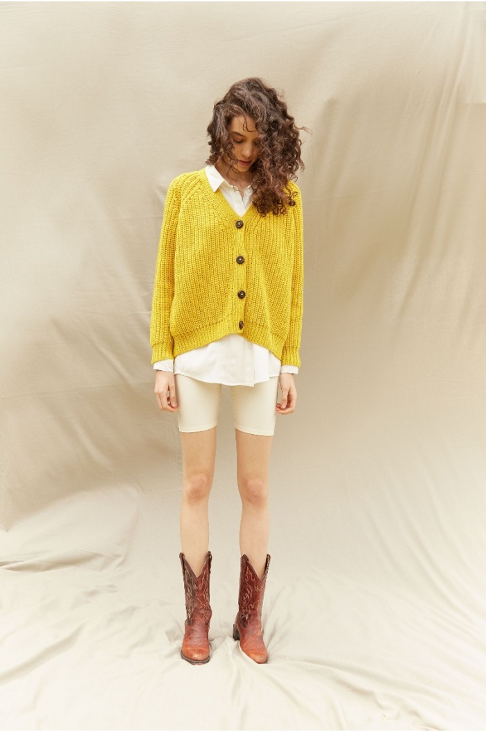 Perlado Couture Yellow Cardigan