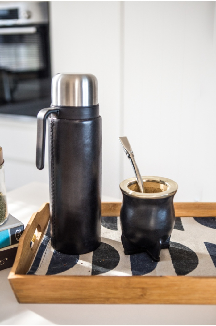 Leather Mate, Flask and Stainless Steel Bombilla Set