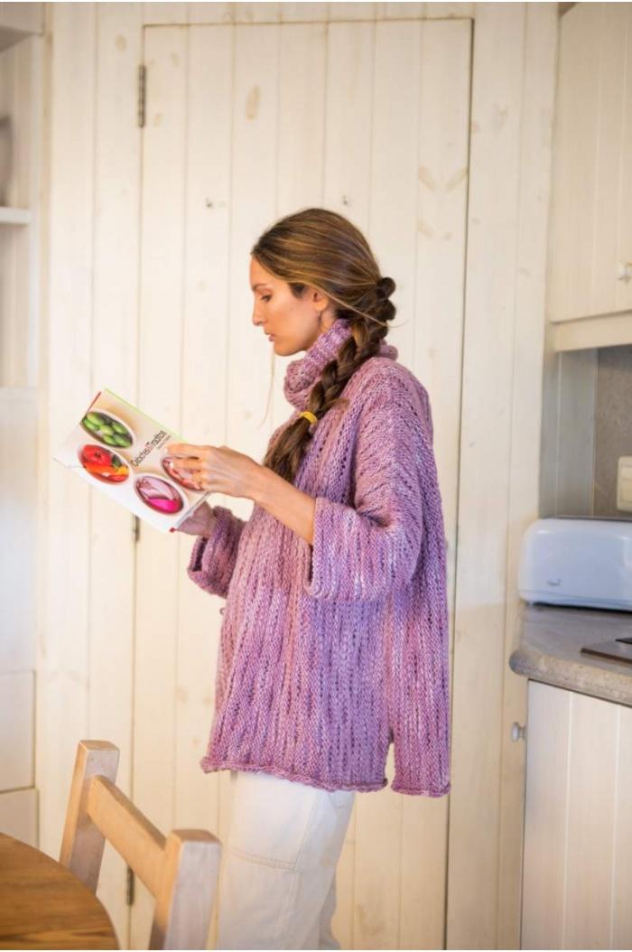 Sweater Poncho Swami en Lilac