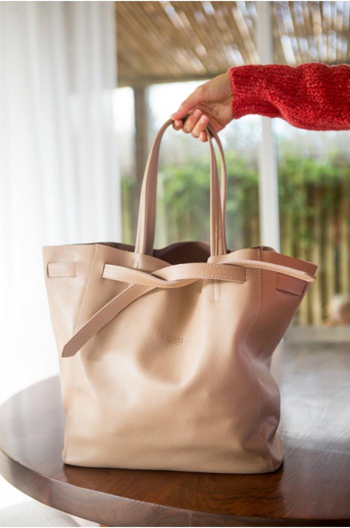 Leather Handbag with Ribbon Nude