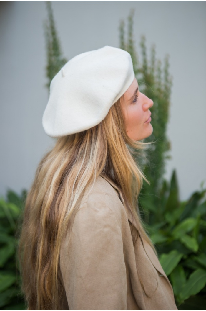Wool Beret in Off-White