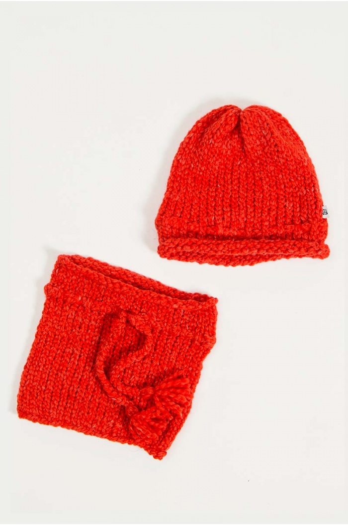 Papolino Hat and Snood in Orange