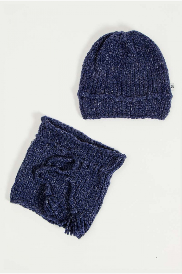 Papolino Hat and Snood in Blue