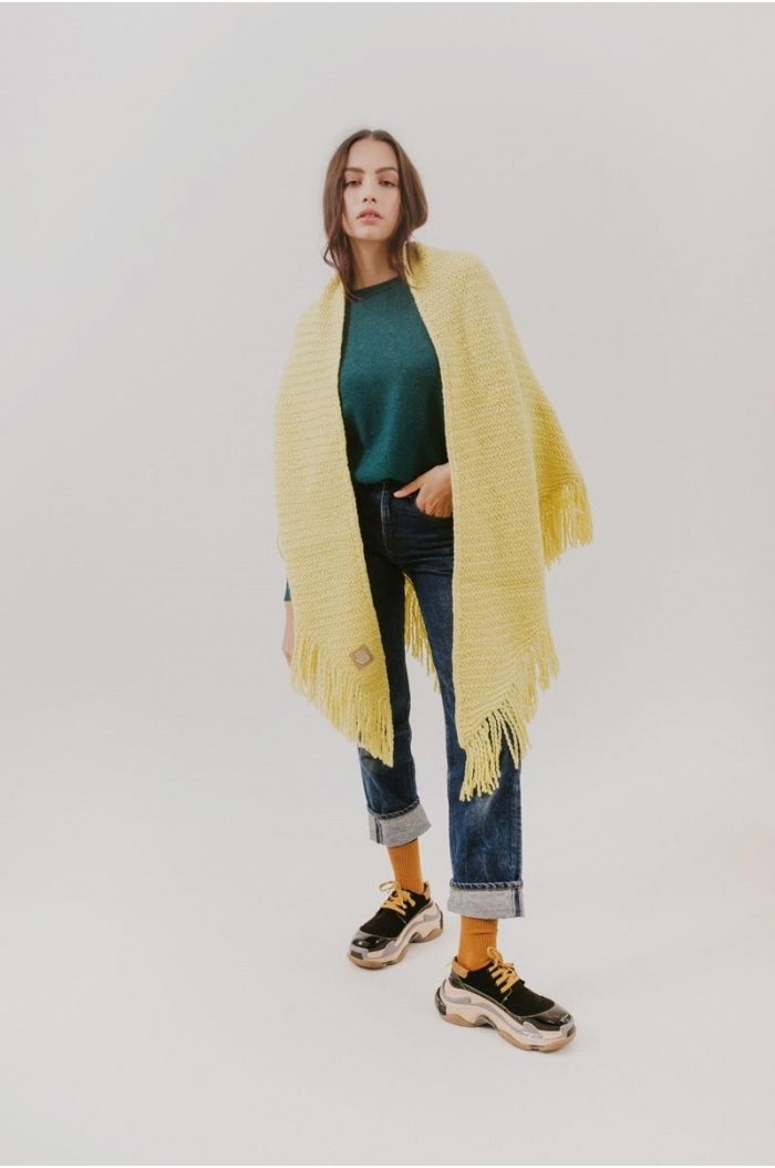 Huella Fringed Wrap in Yellow