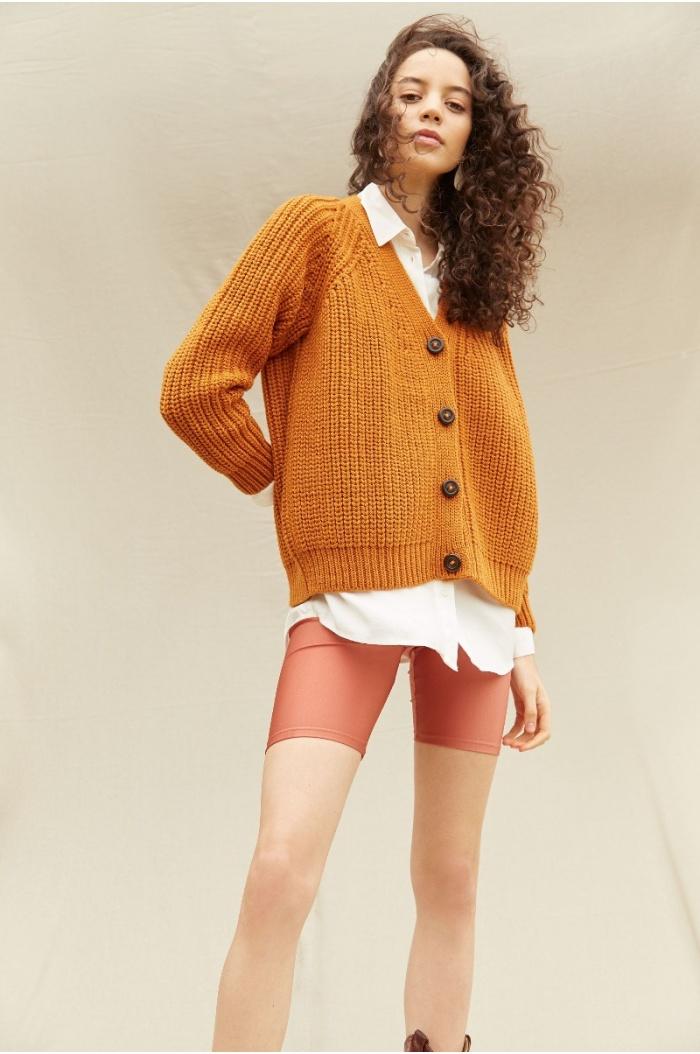 Perlado Couture Ocher Cardigan