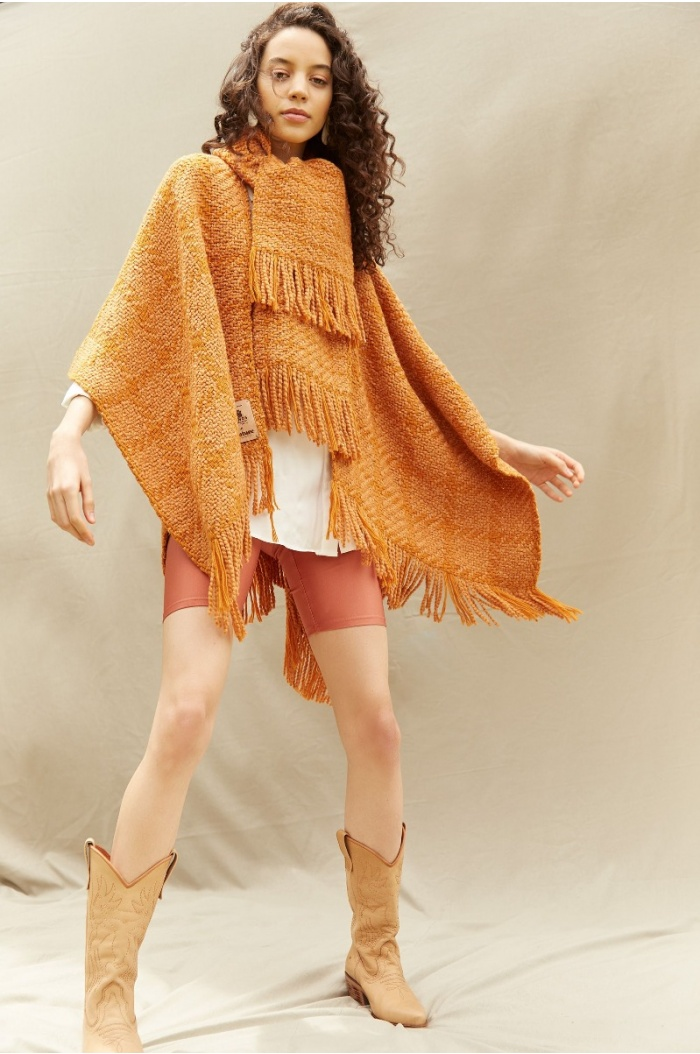 Couture Ocher Ruana with neck