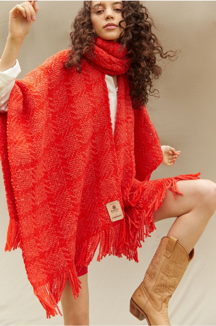 Couture Red Ruana with neck
