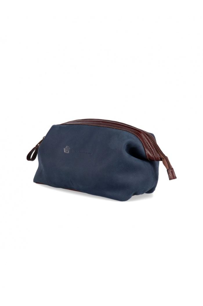 XL Blue Leather Necessaire
