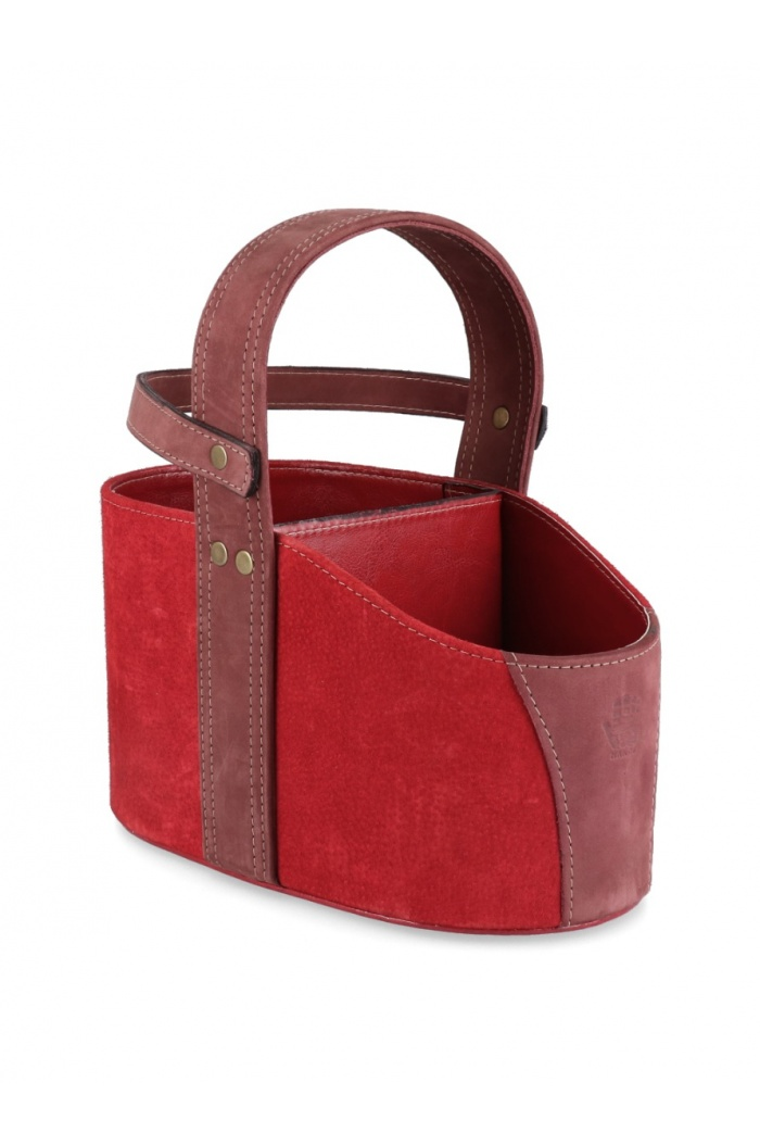 Red Leather Car Matera with Strap