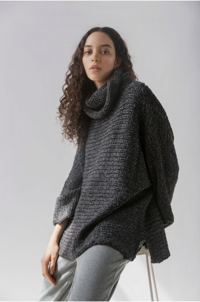 Sweater Poncho in Black