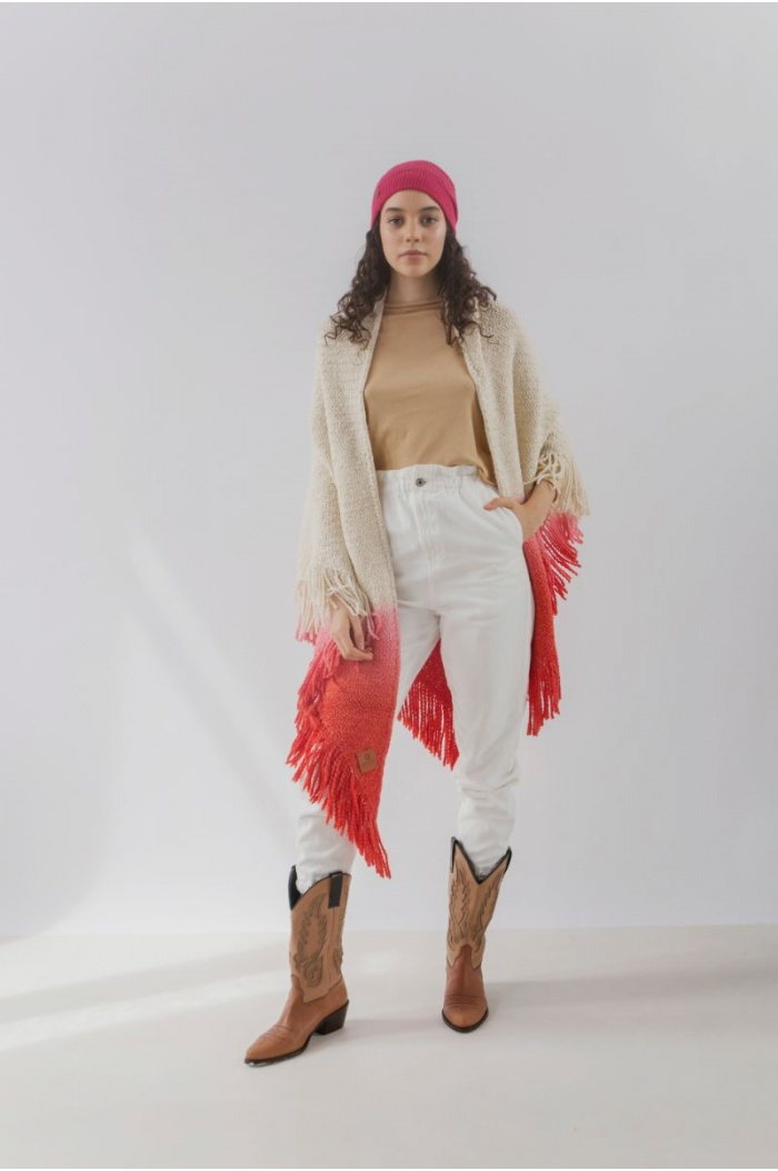 Huella Gradient Fringed Wrap in Red