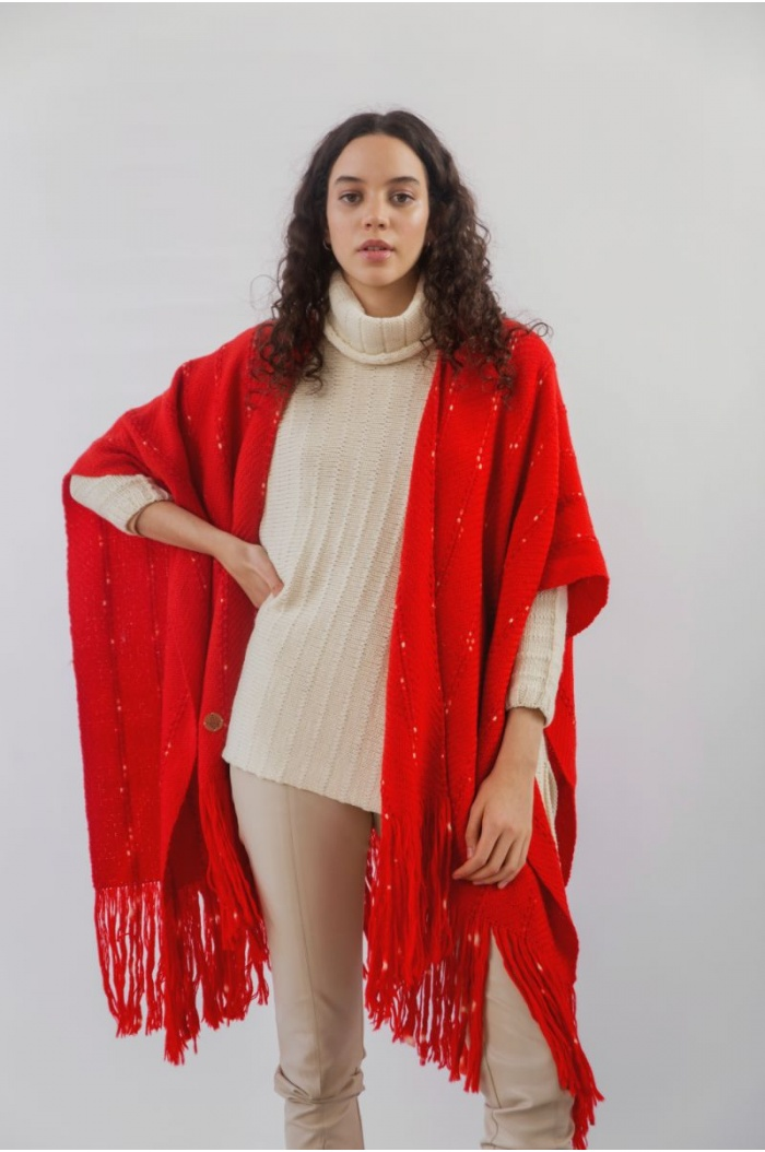 Sweater Poncho Off-White in Merino