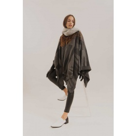 Vanizado Poncho in Medium Gray and Charcoal