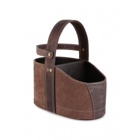 Dark Brown Leather Car Matera with Strap