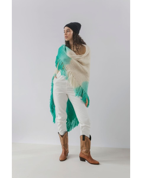 Huella Gradient Fringed Wrap in Green