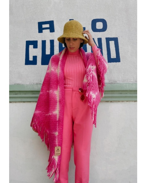 Couture Fringed Wrap In Orchid Fuchsia