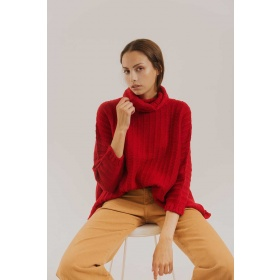 Sweater Poncho Merino in Red