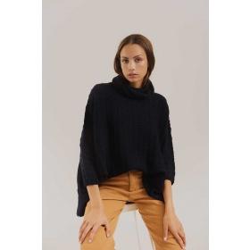 Sweater Poncho Cream in Black