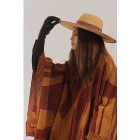 Vanizado Poncho in Bordeaux and Mustard