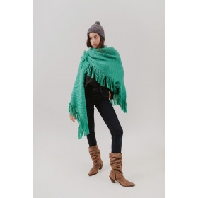 Huella Fringed Wrap in Green