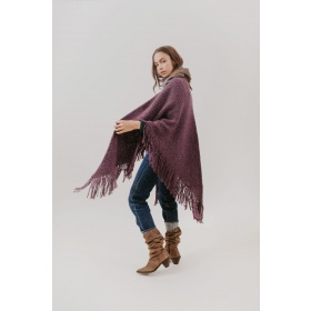 Huella Fringed Wrap in Purple