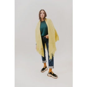 Huella Fringed Wrap in Yellow