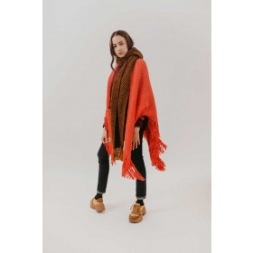 Huella Fringed Wrap in Orange