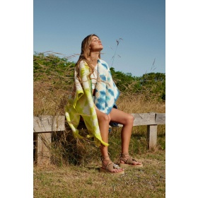 Couture Poncho Lime Green + Vibrant Blue