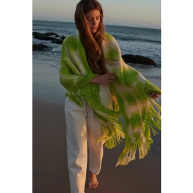 Couture Fringed Wrap In Lime Green
