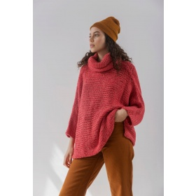 Sweater Poncho in Cherry