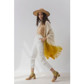 Huella Gradient Fringed Wrap in Yellow
