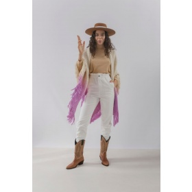 Huella Gradient Fringed Wrap in Lilac