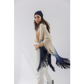 Huella Gradient Fringed Wrap in Blue